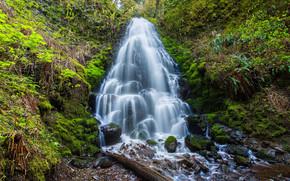 водопад, камни, природа