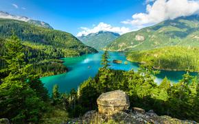 Diablo Lake, Washington, горы, озеро, пейзаж
