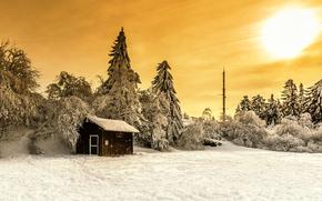 закат, зима, домик, деревья, пейзаж