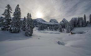 зима, горы, деревья, домик, сугробы, пейзаж