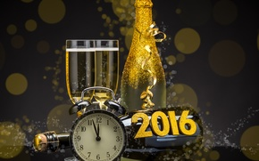 New Year 2016, Champagne, Christmas Wallpaper
