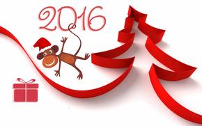 Новый год, 2016, праздник, дата, обезьянка, ёлка