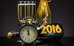 新年, 2016年, 节日, 日期, 看, 高脚杯