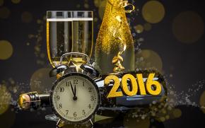 New Year, 2016, holiday, date, watch, stemware