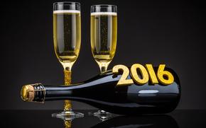 Capodanno, 2016, vacanza, data, Champagne, Calici