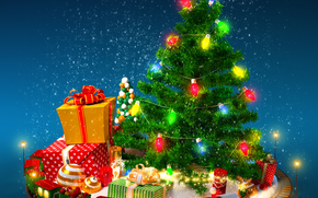 New Year, fir-tree, Garlands, Christmas Wallpaper