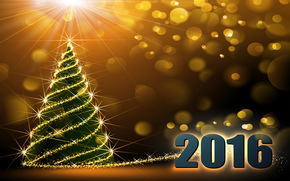 New Year, 2016, holiday, date, fir-tree