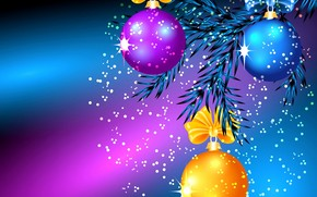 New Year, tree branch, Balloons, Christmas Wallpaper