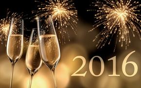 Новый год, 2016, праздник, дата, бокалы
