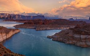 Glen Canyon, Lake Powell, Arizona, Glen Canyon, Lake Powell, Arizona, canyon, lago, panorama