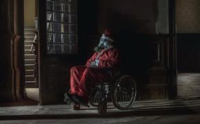 Дед Мороз, Санта Клаус, Новый год, Рождество, дом, коляска, мрачно, противогаз
