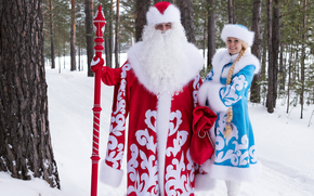 Papai Noel, Papai Noel, Snow-donzela, Ano Novo, Natal, férias