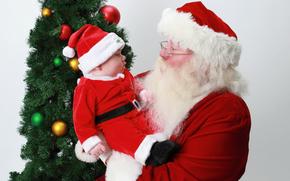 Papai Noel, Papai Noel, bebê, Ano Novo, Natal, férias