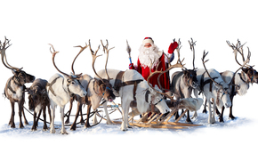 Дед Мороз, Санта Клаус, олени, Новый год, Рождество, праздник