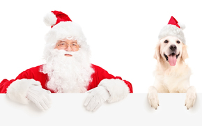 Santa Claus, Santa Claus, dog, New Year, Christmas, holiday