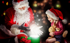 Papá Noel, Papá Noel, Año Nuevo, Navidad, chica, magia, regalo, fiesta