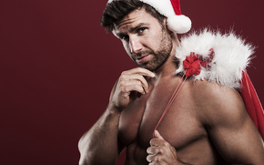 Дед Мороз, Санта Клаус, Новый год, Рождество, качок, мужчина, праздник