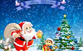 feliz ano novo, ano do macaco, Papai Noel, 2016, Wallpaper de Natal