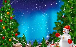holiday, Christmas Wallpaper, snowman, Christmas tree, gifts