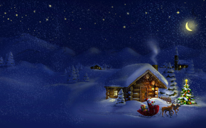 новый год, новогодние обои, панорама, дед мороз, новогодняя ёлка, ночь