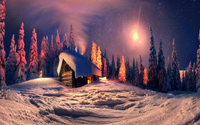 winter, night, trees, cabin, landscape