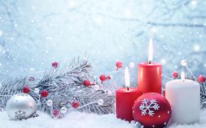圣诞壁纸, 蜡烛, 气球