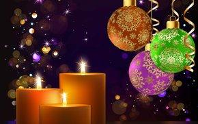 Sfondi di Natale, Palloncini, Candele