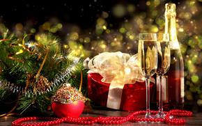 новый год, шампанское, новогодние обои