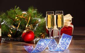 クリスマスの壁紙, 脚付きグラス, シャンパーニュ