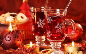 New Year, Candles, Christmas Wallpaper, table, stemware