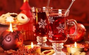 Año Nuevo, Velas, Fondos de Navidad, tabla, copas