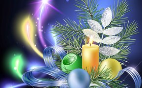 Christmas Wallpaper, tree branch, candle