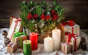 Weihnachten, Kerzen, Geschenke