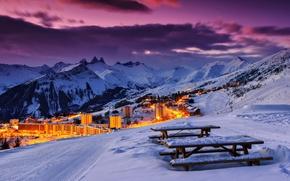 Sybelles, France, Alps, закат, горы, пейзаж