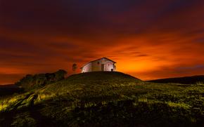 tramonto, collina, cappella, paesaggio