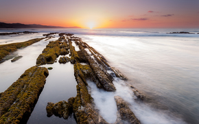 pôr do sol, mar, Rochas, paisagem
