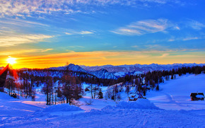 закат, зима, горы, деревья, домики, пейзаж