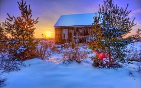 sunset, winter, cabin, trees, drifts, landscape