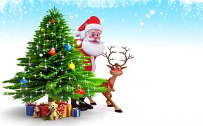 Babbo Natale, Albero di Natale, Sfondi di Natale