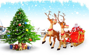 Babbo Natale, Albero di Natale, Sfondi di Natale, Babbo Natale sulla renna