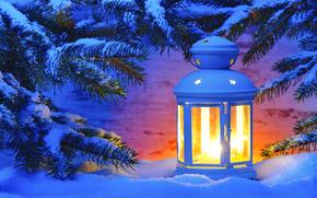 новогодние обои, новогодний фонарь, снег
