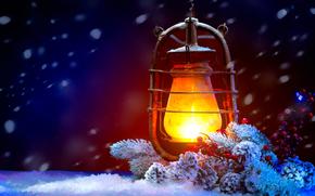 Fondos de Navidad, Las luces de Navidad, nieve