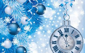 Christmas Wallpaper, watch, tree branch with toys