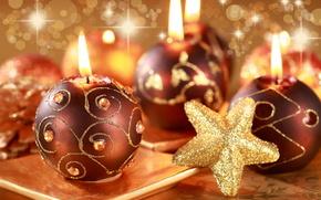 новогодние обои, свечи, звезда