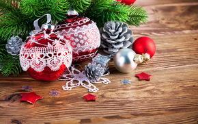 ramo di un albero, Palloncini, Sfondi di Natale