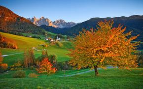 Santa Maddalena, Alta, Italia, autunno, Montagne, Colline, alberi, paesaggio