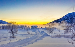 sunset, winter, road, drifts, home, trees, Norway, landscape