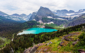 Glacier National Park, Montana, Grinnell Lake, Mountains, landscape