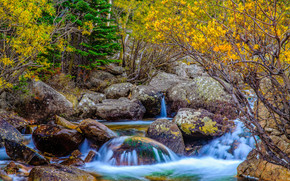 Alberta Falls, Rocky Mountain National Park, autumn, waterfall, stones, nature