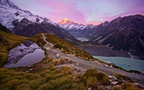 Nouvelle-Zélande, coucher du soleil, Montagnes, lac, paysage